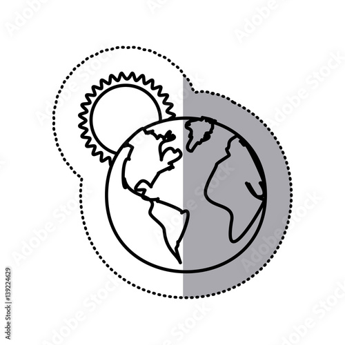Monochrome Sticker Contour With Sunset Over Planet Earth Vector