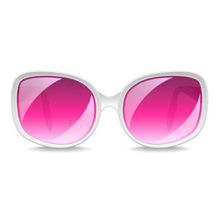 Large pink sunglasses isolated on white vector