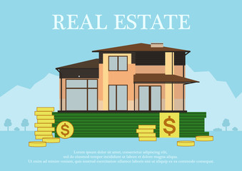 Cute cartoon house for sale or rent in flat building style staing on money. sign real estate.Background in blue pastel colors. country views with trees and shrubs. vector illustration