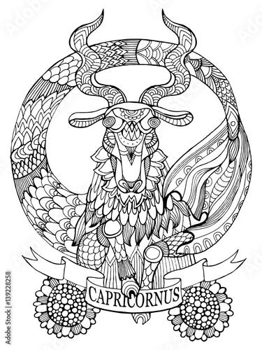 u0026quot capricorn zodiac sign coloring book vector u0026quot  stock image
