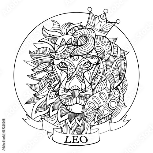 lion zodiac sign coloring book vector stock image and royalty free vector files on. Black Bedroom Furniture Sets. Home Design Ideas