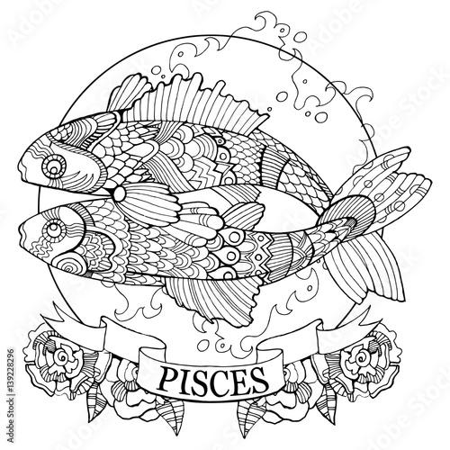 Volwassen Kleurplaten En Mandala 39 Quot Pisces Zodiac Sign Coloring Book Vector Quot Stock Image And