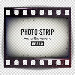 Photo Strip Vector. Realistic Empty Frame Strip Blank. Grunge Scratched Template Isolated On White Background.