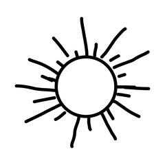 monochrome contour with hand drawn sun close up vector illustration