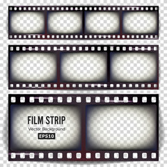 Film Strip Vector. Set Realistic Frame Strip Blank Scratched Isolated On Transparent Background.