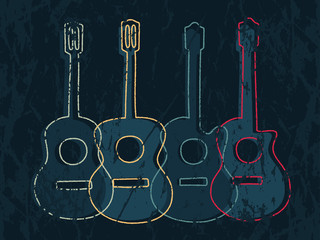 Classic and acoustic guitar graphic with simple drawing line and grunge texture.