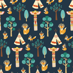 Vector seamless pattern texture with foxes in american indian st
