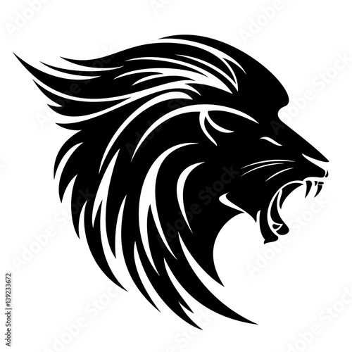 Lion head side view black vector design