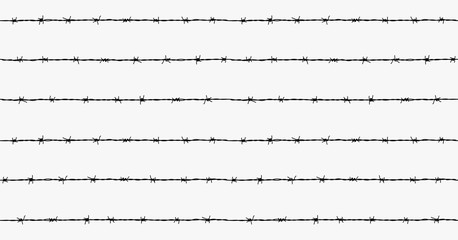 Steel rusty barbwire seamless pattern