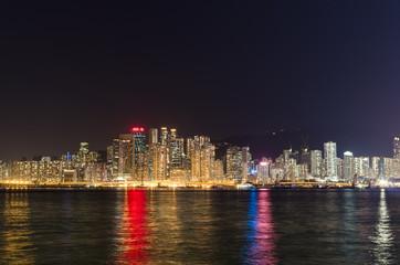 Night cityscape of Hong Kong.
