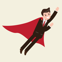 businessman flying. superhero character. happy worker. business design concept. vector illustration.