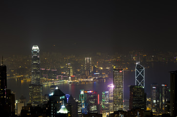 Night cityscape of Hong Kong as seen from the Victoria Peak.