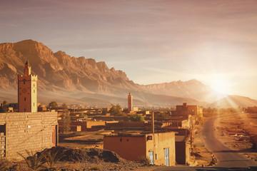 Rural Berber village at sunrise  in Morocco