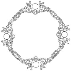 Vector illustration of Celtic knot circle frame black and white