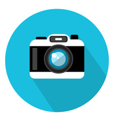Camera icon in trendy flat style. Web site page and mobile app design element. Flat design in stylish colors. Isolated. Long Shadow.