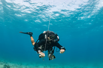 SCUBA diver on a closed circuit rebreather