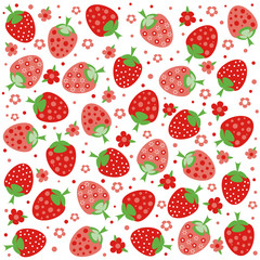Seamless pattern with ornament of red strawberries and flowers on white background. Vector illustration