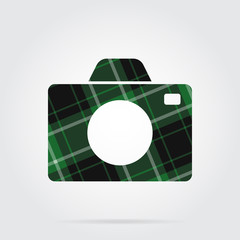 green, black tartan isolated icon - camera