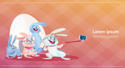 Rabbit Taking Selfie Photo Easter Holiday Bunny Decorated Eggs Greeting Card Flat Vector Illustration