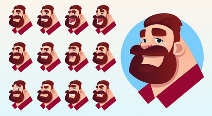 Cartoon Business Man Profile Icon Different Emotions Set Flat Vector Illustration