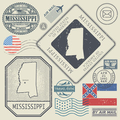 Retro vintage postage stamps set Mississippi, United States