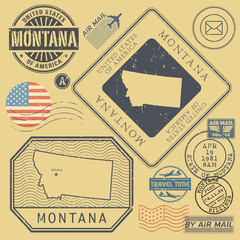 Retro vintage postage stamps set Montana, United States