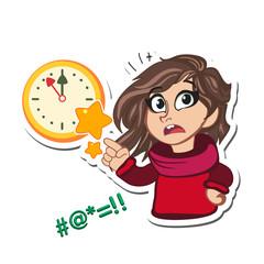 wall Clock and Cute little girl wondering cartoon character
