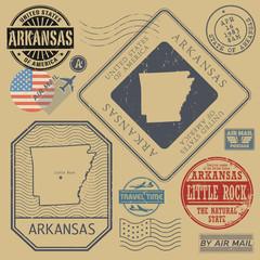 Retro vintage postage stamps set Arkansas, United States