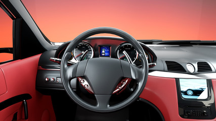 red leather interior of luxury black sport car . realistic 3d rendering.