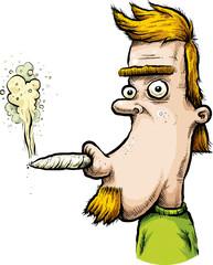 A cartoon stoner man smoking a joint.