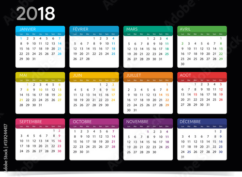 """Calendrier 2018"" Stock image and royalty-free vector files on Fotolia.com - Pic 139244417"