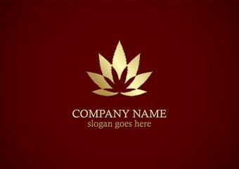 gold cannabis leaf marijuana logo
