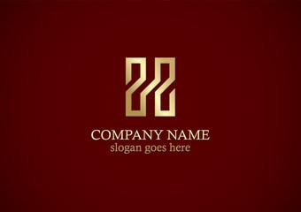 shape line letter h gold logo