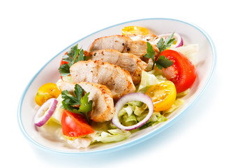 Green salad with grilled chicken fillet