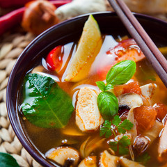Vietnamese Tofu Soup with Mushrooms and Tomato .
