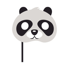 Panda Mask. Bear with Black Patches Round Eyes
