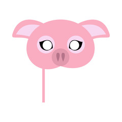 Pink Pig Domestic Animal Carnival Mask. Vector