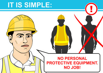Health and safety rules in the style of a comic book. Flat vector.