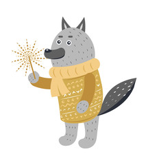 Grey Wolf in Warm Yellow Sweater with Sparkler