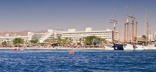 Central public beach and marina in Eilat - famous resort and recreation city in Israel