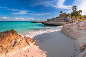 Poster Mexico Beach at Caribbean sea in Playa del Carmen, Mexico