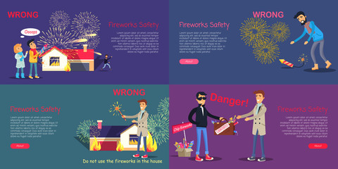 Fireworks Safety. Poster of Wrong Act and Danger