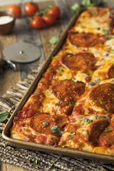 Homemade Pepperoni Sicilian Pan Pizza