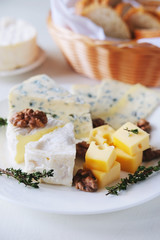 Cheese plate with different kinds of cheese