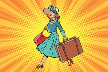 retro traveler girl with a suitcase