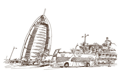 Sketch of Burj al arab with bus DUbai UAE in vector illustration.