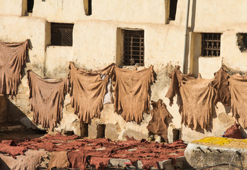 Old leather tannery in moroccan city Fez