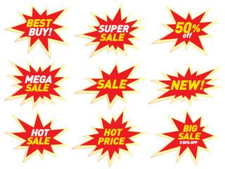 Sale label price tag banner star badge template sticker design. Vector illustration.