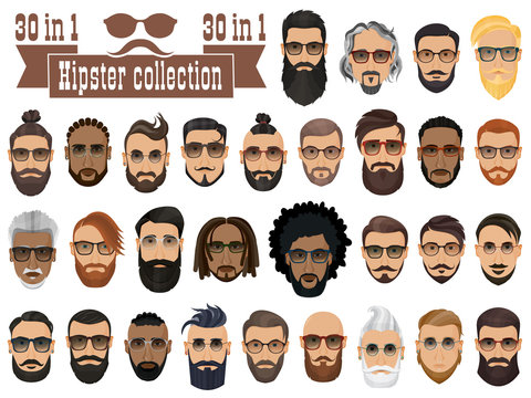Superset of 30 hipsters bearded men with different hairstyles, mustaches, beards isolated on white background.