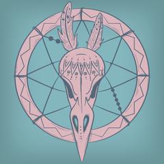 Bird Skull and Dreamcatcher. Vector print